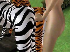 שתי סקסיות 3D furries מקבל זיין קשה בפארק