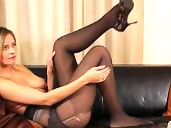 Black pantyhose and ultra hot stocking