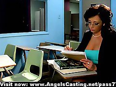 Hot milf sex teacher does blowjob and is fucked hard by student