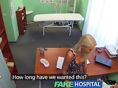 FakeHospital Doctors hot blonde wife demands his seed in his office in a bid to concieve