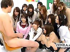 Subtitled CFNM Japanese schoolgirls harem masturbation