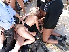 Nasty Blond Gangbanged by Bikers