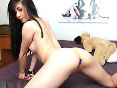 Sexy Brunette Striptease, Lang Haar, Haar