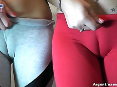 Cameltoe Happy Hour! Double for Everyone! Tight-Clothed Lesb