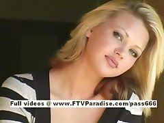 Svetlana cute blonde girl drinks cofee
