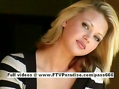 Svetlana uber-cute blonde girl drinks cofee