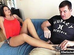 Hot pornographic star footjob with cumshot