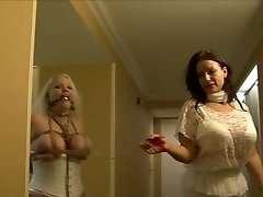 Full figured girl hog-tied in milky lingerie