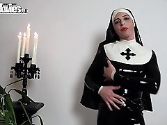 Slutty spandex nun rubbing her mischievous latex costume