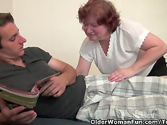 Chubby granny with big tits and hairy pussy gets fucked