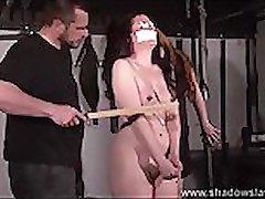 Cruel nipple torments and lesbian bdsm of slave Caroline Pierce in whipping