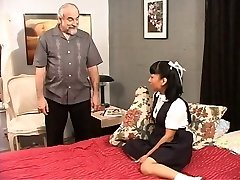 Dark-haired school girl plays with her pussy for her master.