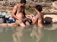 Amateur outdoor romp at river
