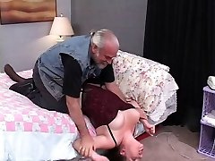 Marvelous, thick brunette is trussed and screwed on the bed by an older dude