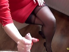 Cum all over nylon stockings