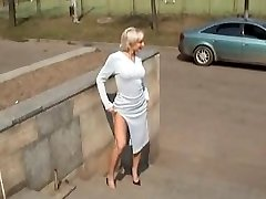Hot Blonde Russian Cougar Posing Outdoors