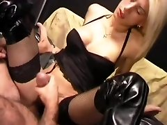 Blonde tranny jerking cum onto her stomach - Pandemonium