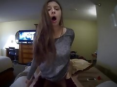 Girlfriend blows and rides a xxl knob POV