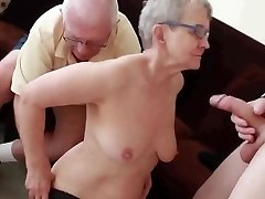 Granny & Hubby Invite a Young Stud to Fuck Her
