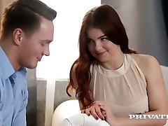 Romantic and sensual intercourse with red haired stunner with pierced puffies Renata Fox