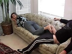 Excellent nylon footjob with happy end