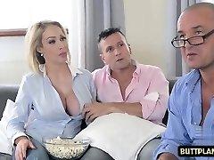 Big tits wife deepthroat and cum-shot