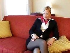 Bionda Collant hostess scopata e facciale