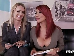 Ava Devine and Natasha Starr in office threeway