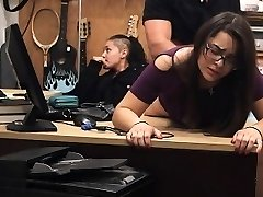 Store Lifting Brunette In Glasses Takes Facial Cumshot In Pawn Shop