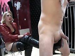 Platinum-blonde mistress Boots torture