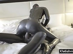 Hot pornographic star latex and cumshot