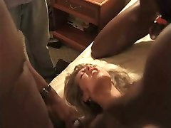 Slut wife gangbanged by black guys in hotel squirting