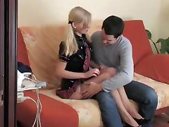 Cute school teen Okul Kizi sucks his dick and then fucks on the couch