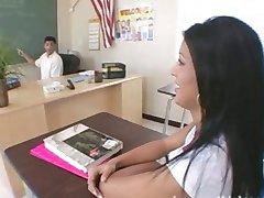 A sexy latina schoolgirl is late for class and gives up the ass to please her teacher