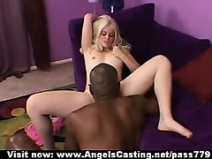 Lovely naked blonde licked and fucked and riding black cock