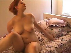 Fat Chubby Redhead masturbating and spreading her pussy