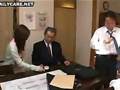 Little Asian gal with nice tits gets played with in the office