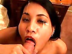 Sexy Asian gives incredible deepthroating and swallows cum