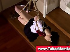 Check out this sexy tied up teen brunette schoolgirl in hi def
