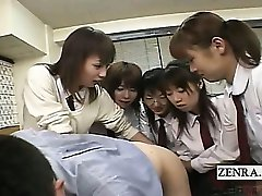 Subtitled CFNM Japanese schoolgirls teacher anal party