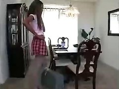 Schoolgirl in Uniform in Threesome