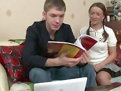 Russian Schoolgirl is tired from Studies