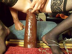 ABUSING my bitch ass with 3 HUGE BLACK dildos & fist!!