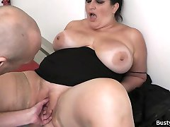 Busty secretary in pantyhose rides boss cock
