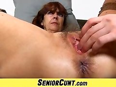 Hairy older pussy of grandmother Lada on close-ups