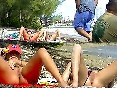 Voyeurchamp.com Exhibitionist Wives Tease Voyeur Beach Spunk-pumps