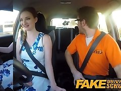 Fake Driving School rosy nipples big tits redhead facial