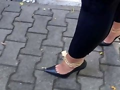 Walking with high-heeled slippers full of cum