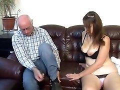 German grandpa makes young girl nasty