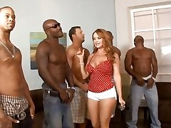 5 bi-racial dudes lineup so that housewife Janet Mason can choose the best